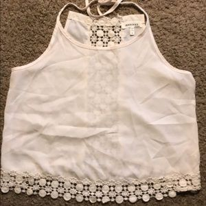 Small Off-White sheer embellished crop top